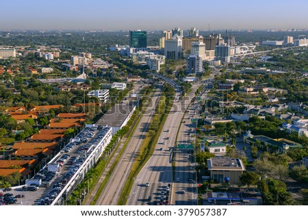 aerial view of south miami kendall business district with trademarks removed