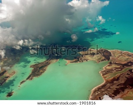 Aerial view of southern Florida, flying into Miami - stock photo