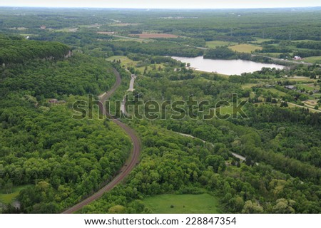 Aerial view of southern Ontario in the summer season - stock photo