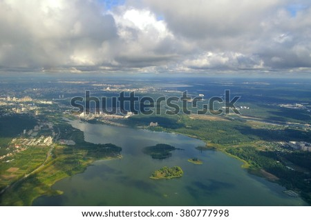 Aerial view of  Southern Urals landscapes - panoramic birds eye view of lakes and cities of Ural