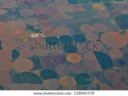 Aerial View of Southwest USA Country Side Landscape - stock photo