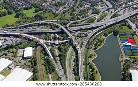 aerial view of Spaghetti Junction near Birmingham, UK - stock photo