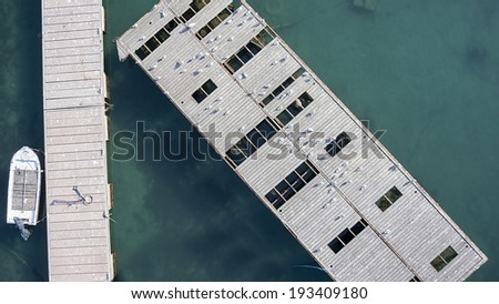 Aerial view of speed boat at pier, in Greece - stock photo