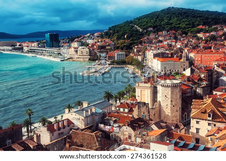 Aerial view of Split coast, Croatia Adriatic sea - stock photo