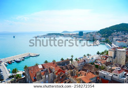 Aerial view of Split in the bright summer day. Croatia - stock photo