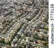 Aerial view of sprawling Southern California urban housing development. - stock photo