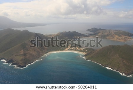 Aerial view of St. Kitts & Nevis in the Caribbean Sea - stock photo