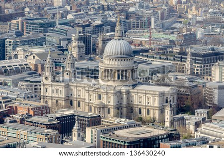 Aerial View of St Paul Cathedral, London, UK - stock photo