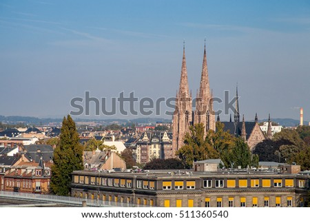 Aerial view of St. Paul Church (gothic style) in Strasbourg in a sunny day