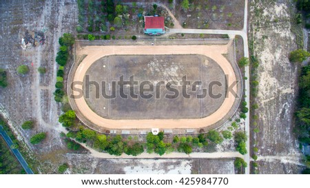 Aerial view of stadium in country