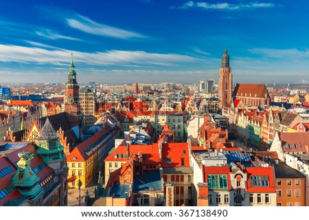 Aerial view of Stare Miasto with Market Square, Old Town Hall and St. Elizabeth's Church from St. Mary Magdalene Church in Wroclaw, Poland - stock photo
