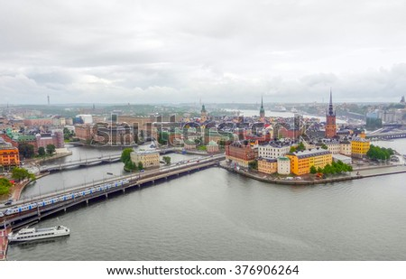 aerial view of Stockholm in Sweden - stock photo