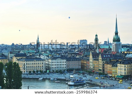 Aerial view of  Stockholm Old Town , Sweden - stock photo