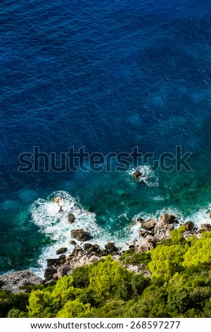 Aerial view of stony seashore with blue sea and fresh green vegetation