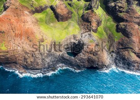 Aerial view of stunning Na Pali coast. Kauai, Hawaii - stock photo