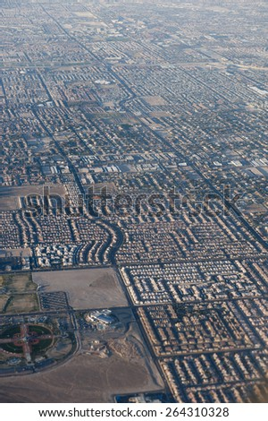 Aerial View of Suburb - stock photo