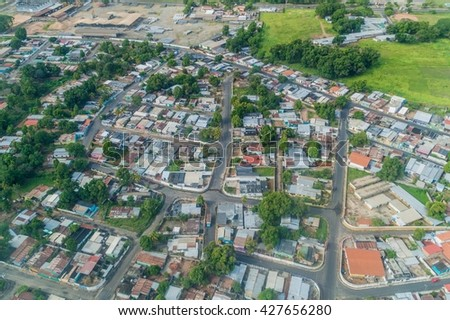 Aerial view of suburbs of Ciudad Bolivar, Venezuela - stock photo