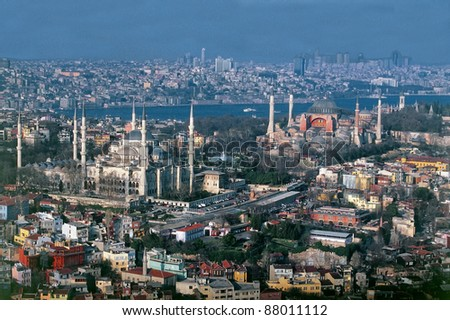 Aerial view of Sultanahmet - stock photo