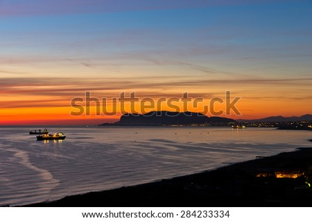 Aerial view of sunrise at Palermo harbor, Sicily, Italy - stock photo