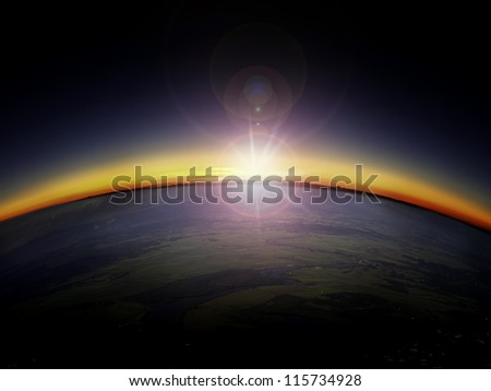 Aerial view of sunrise/sunset over the country side. Digital photo manipulation. - stock photo