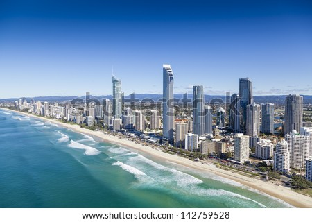 Aerial view of Surfers Paradise on the Gold Coast, Queensland, Australia - stock photo