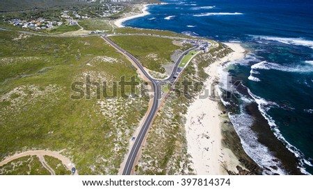 Aerial view of Surfers Point, Margaret River, Western Australia - stock photo