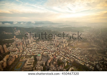 Aerial view of Taipei city in Taiwan
