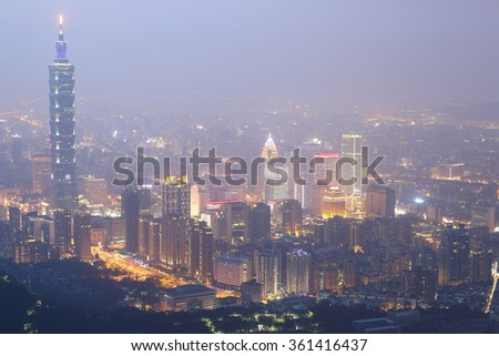 "Aerial view of Taipei City, Taipei 101, Xinyi commercial area, riverside and skyscrapers in downtown in evening twilight ~ Scenery of foggy Taipei City with polluted hazy air (PM 2.5 ""Beyond Index"" )"