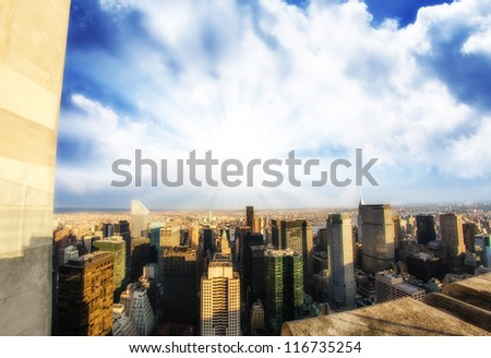 Aerial view of Tall Skyscrapers with dramatic sky - Manhattan - stock photo