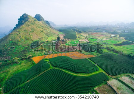 Aerial view of tea hills in Moc Chau highland, Son La province in Vietnam - stock photo