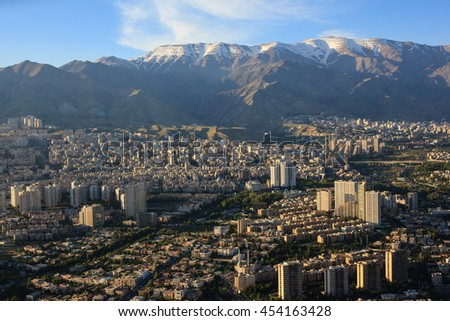 Aerial view of Tehran city from Milad tower, Iran