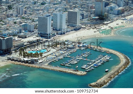 Aerial view of Tel-Aviv beach on the coastline of the Mediterranean sea. Israel. - stock photo