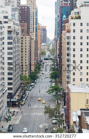 Aerial view of 59th and 60th street of Manhattan.