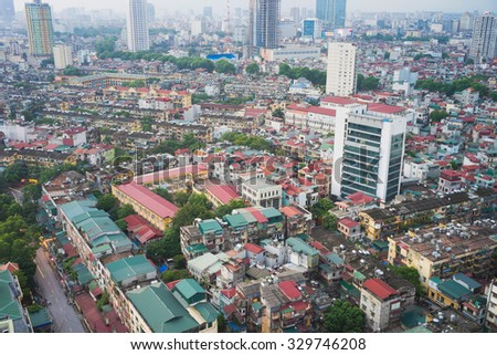 Aerial view of Thanh Cong collective zone. Messy old buildings in Hanoi, Vietnam