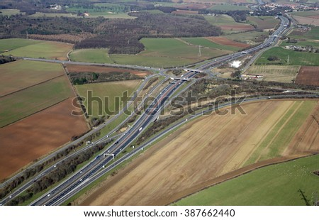 aerial view of the A1 A64 junction in West Yorkshire, UK - stock photo