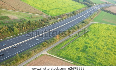 Aerial view of the A10 motorway in Ile-de-France, France - stock photo