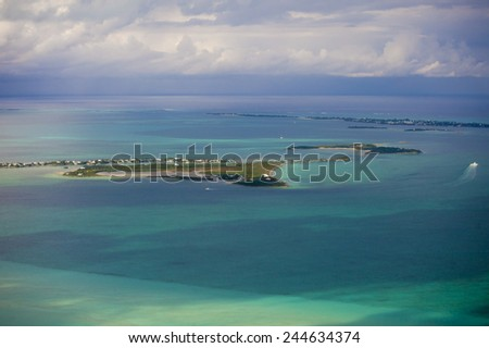 aerial view of the Abacos Islands, Bahamas - stock photo