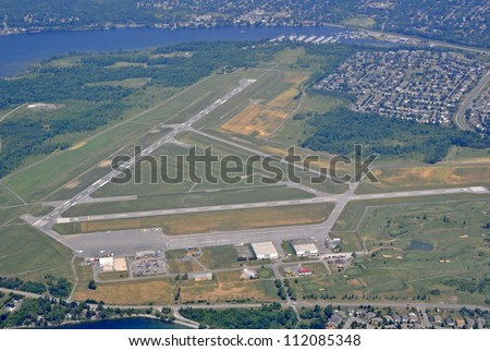 aerial view of the airport in Kingston Ontario, Canada - stock photo