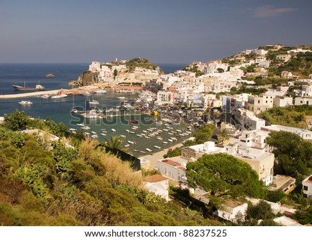 Aerial view of the bay and main port of Ponza, Italy