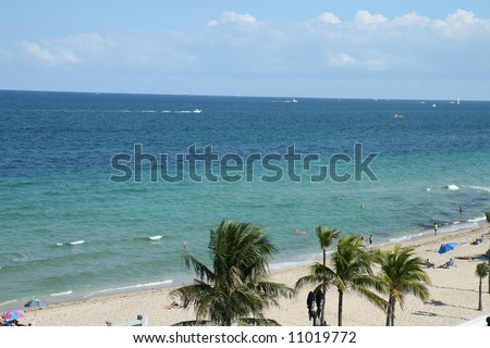 Aerial view of the Beach and Atlantic Ocean in Fort Lauderdale, Florida - stock photo