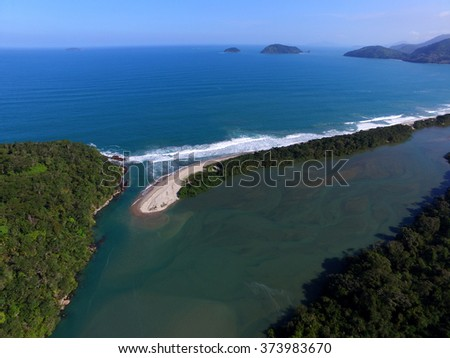 aerial view of the beaches of the north coast of Sao Paulo - Brazil