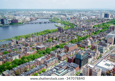 Aerial View of the Beacon Hill District and Charles River, Boston, USA - stock photo