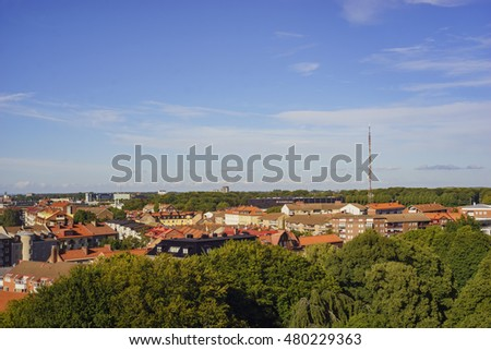 Aerial view of the beautiful city - Helsingborg, Sweden