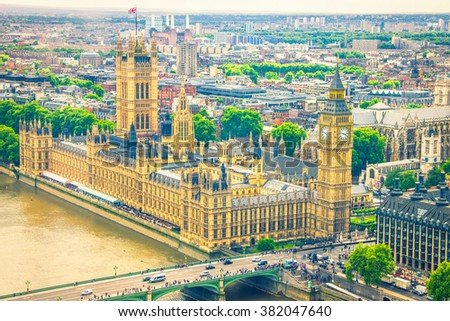 Aerial view of the Big Ben, the Parliament and the Thames river - stock photo