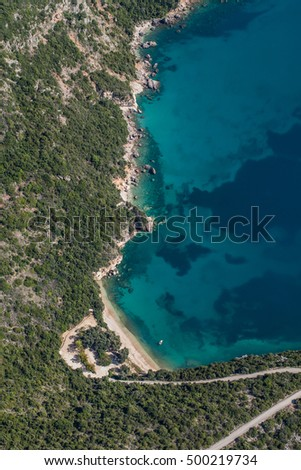 aerial view of the blue water coast line in Greece near Lichnos  town