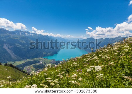 Aerial view of the Brienz lake and the alps on the hiking path towards Brienzer Rothorn on Bernese Oberland near the famous tourism region of Interlaken, Jungfrau region, Switzerland. - stock photo