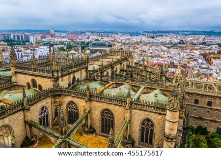 aerial view of the cathedral in sevilla