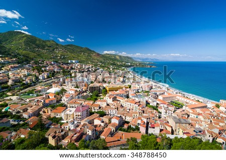 Aerial view of the Cefalu, Sicily, Italy. Lovely sea and mediterranean historical houses. Province of Palermo.