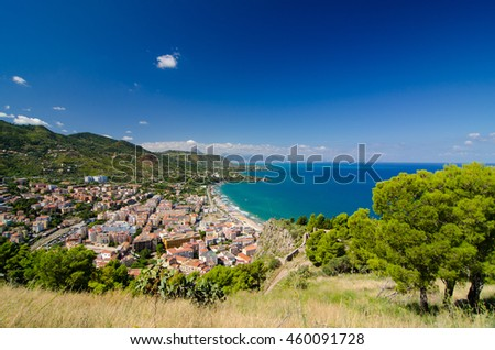 Aerial view of the Cefalu, Sicily, Italy. Lovely sea and mediterranean historical houses. Province of Palermo. - stock photo