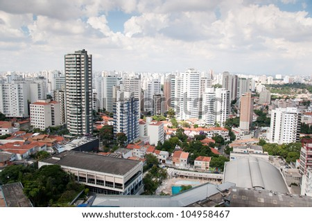Aerial view of the center of sao paulo. Towers of buildings of local businesses